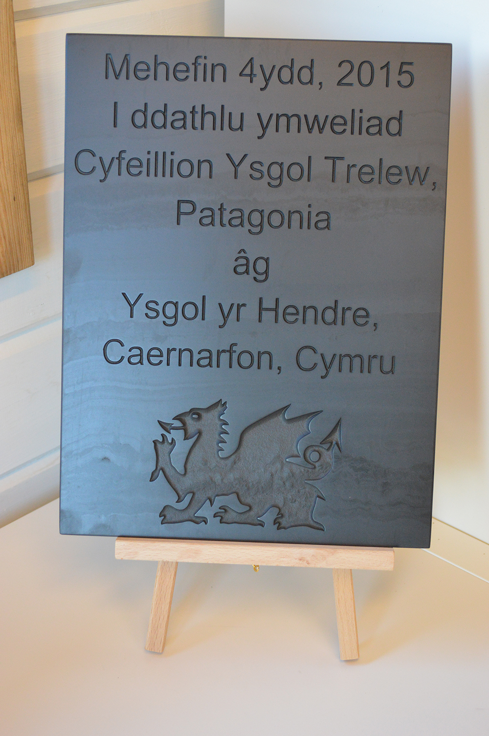 Engraved Welsh slate plaque for Trelew school, Patagonia