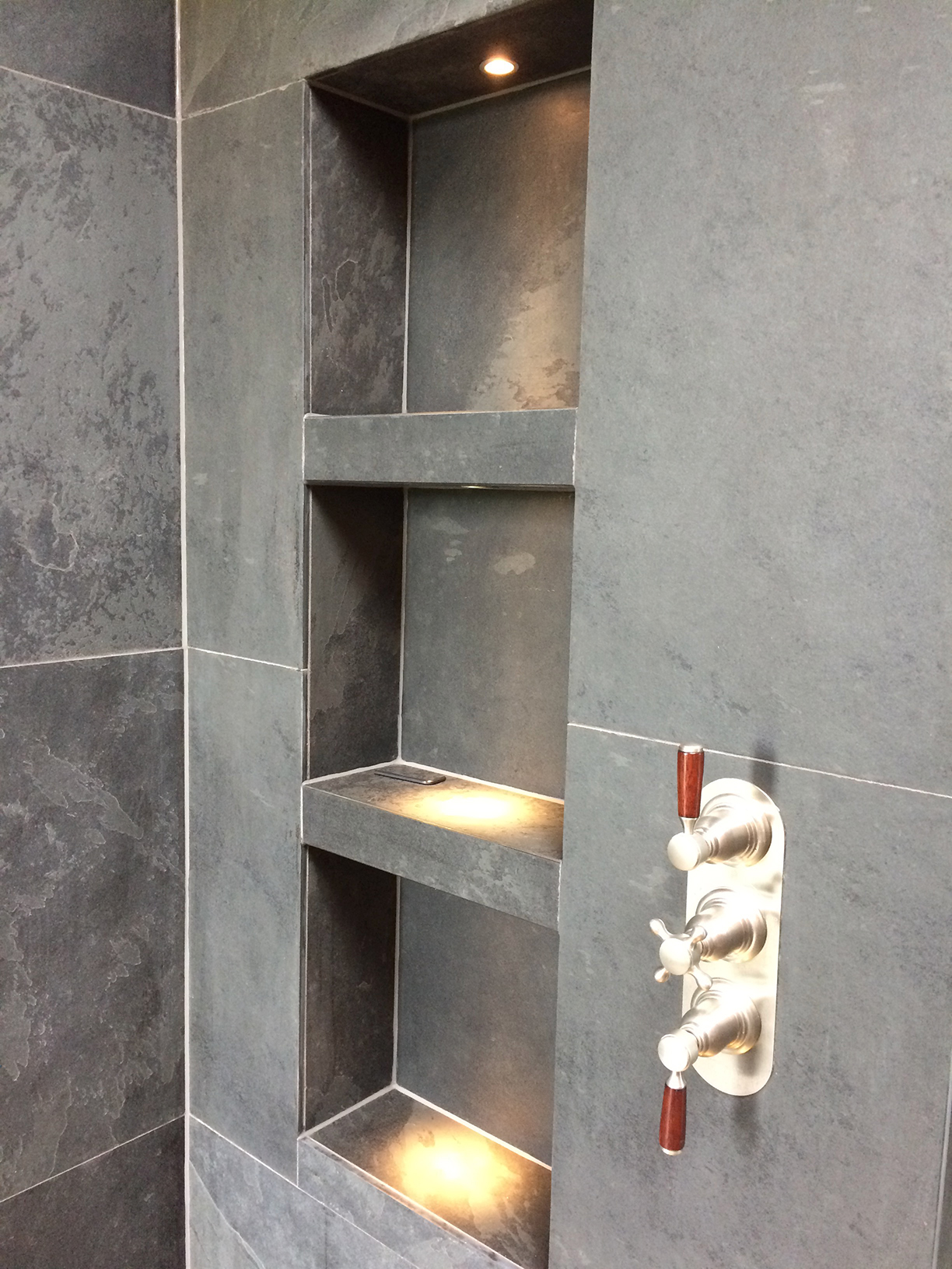 Brazilian tiles bathroom shelves