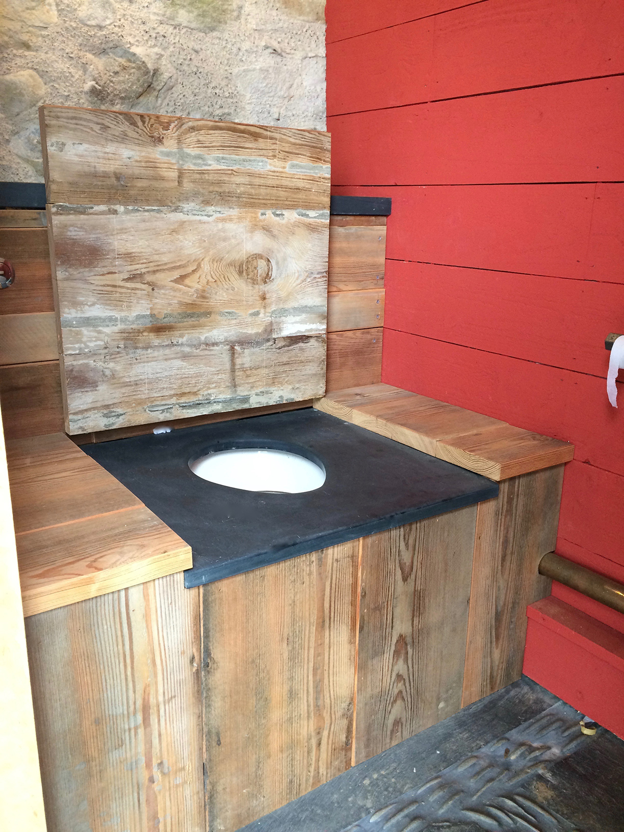 Polished Welsh slate seat for outside toilet