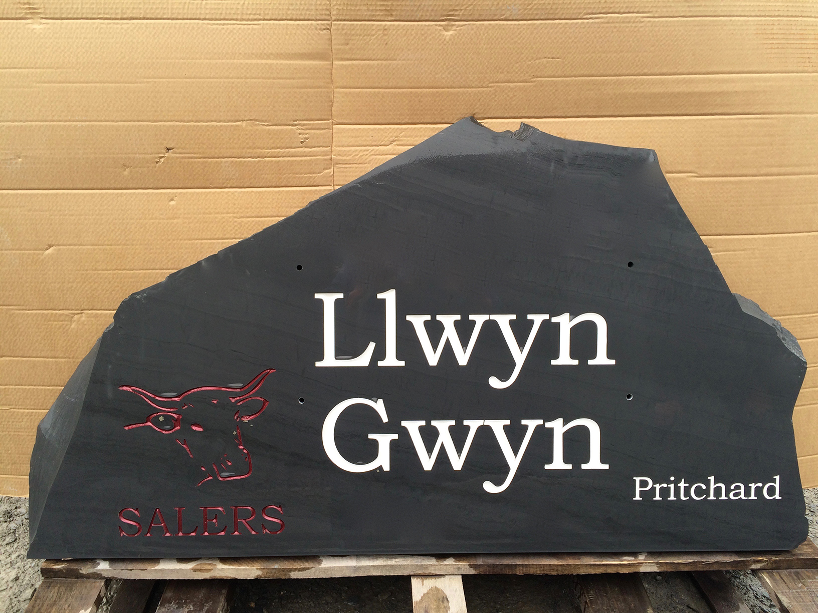 Bespoke Welsh slate farm sign