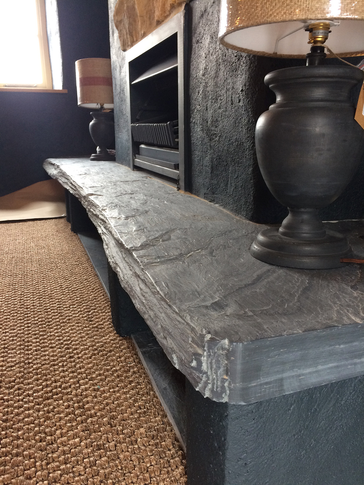 Natural finish Welsh slate hearth