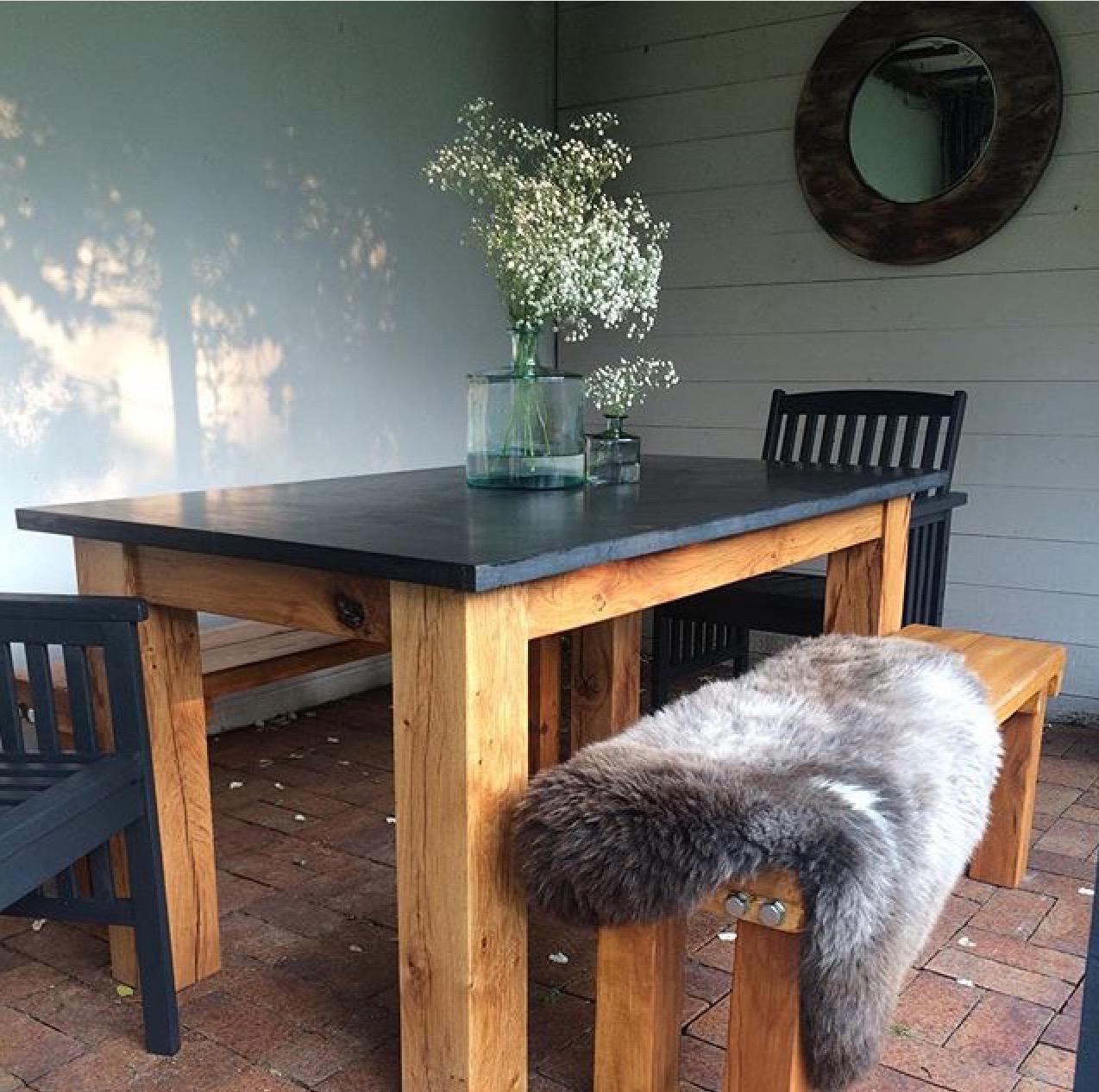 Welsh slate and oak table