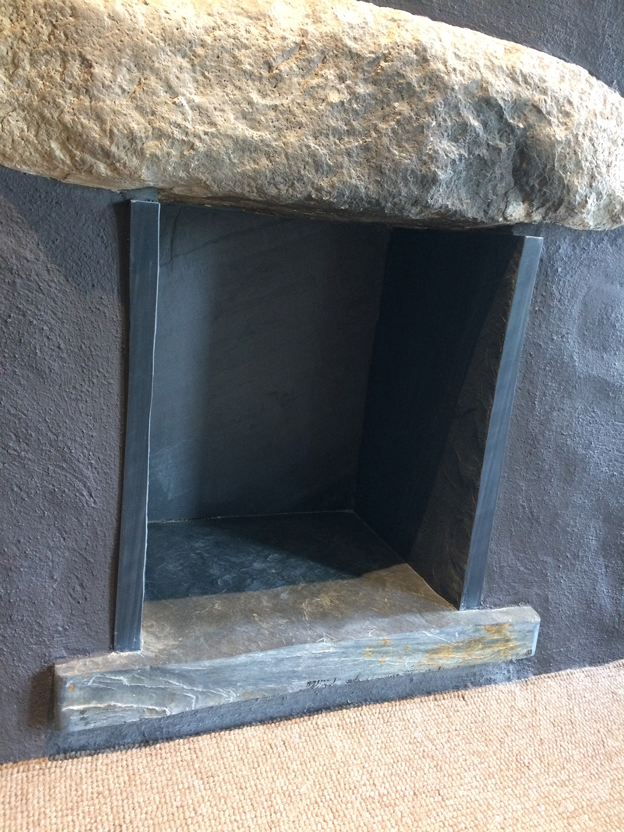 Riven Welsh slate hearth and surround
