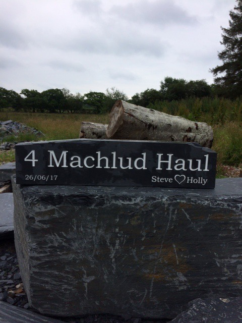 Engraved Welsh slate house sign