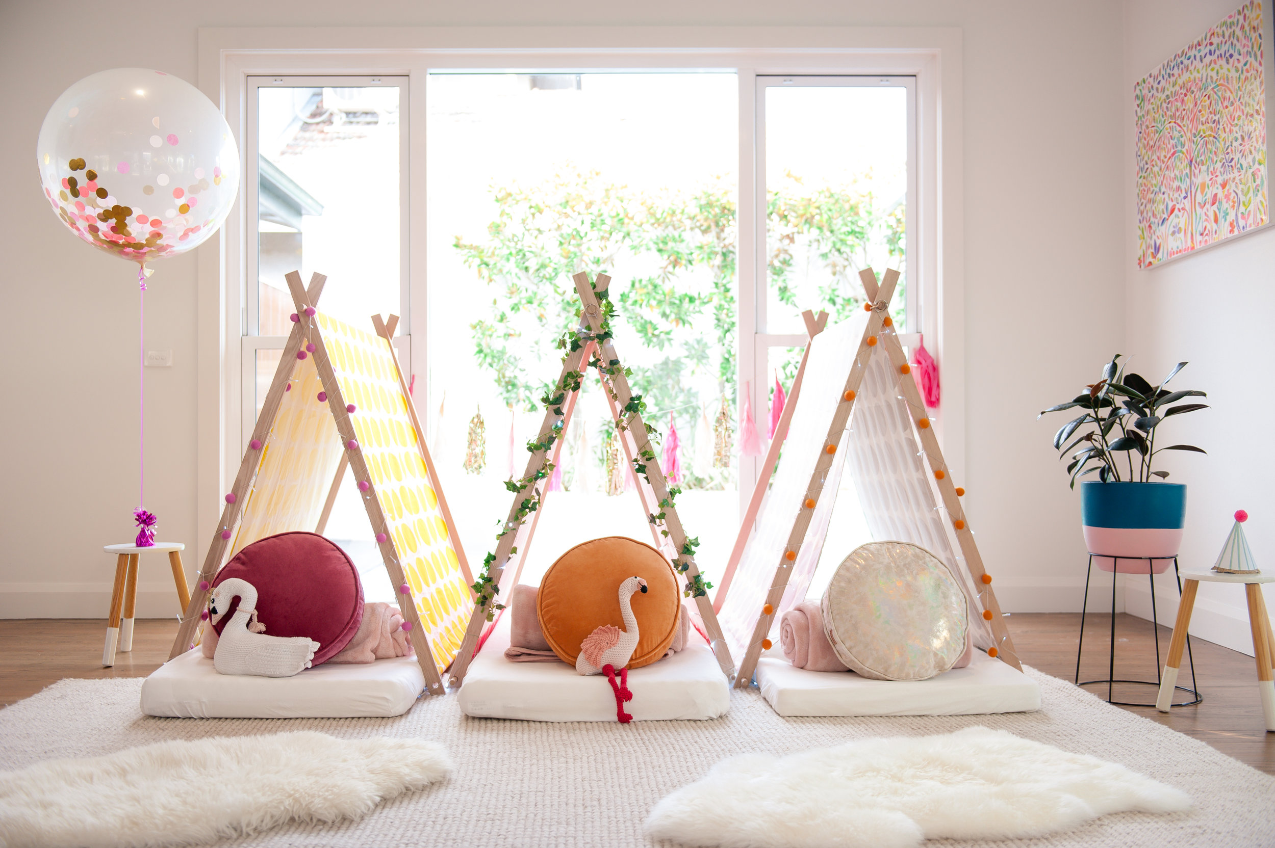 Teepee Dreams teepee tent party girls slumber Melbourne