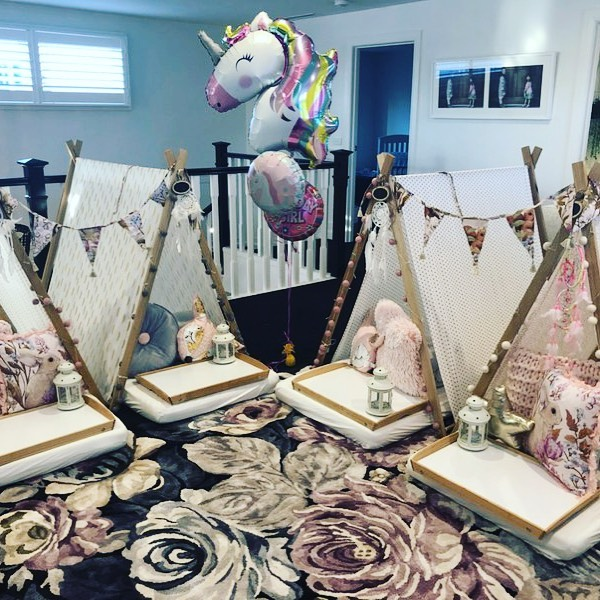Sweet dreams with a little twist, loving the new Adair's Fleur Harris woodland accent.#slumberparties#teepees#birthday#adairskids
