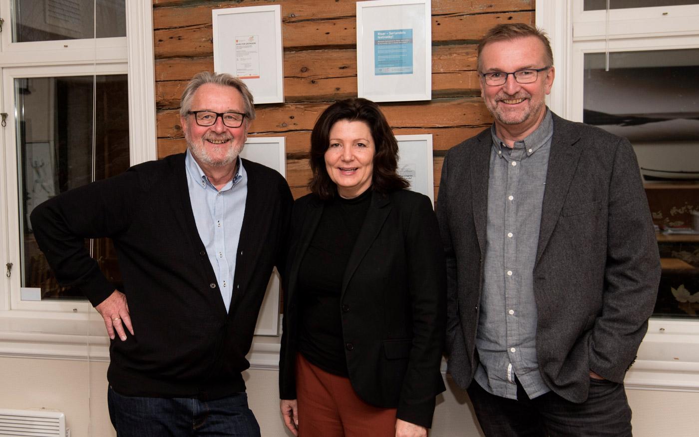 Hanne-Lisbet Løite er også styreleder i Sørlandsporten Næringshage. Her sammen med Michel Esnault og Tor Kristian Johansen.