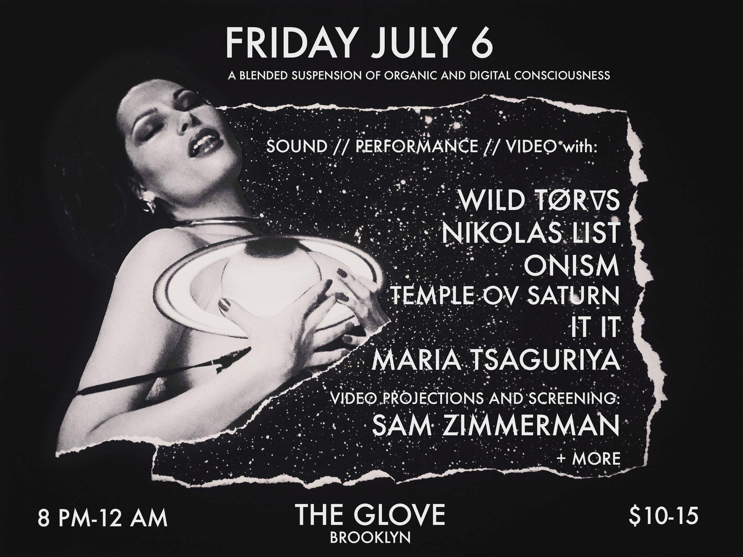 Flyer for Temple ov Saturn gig in Brooklyn on July 6