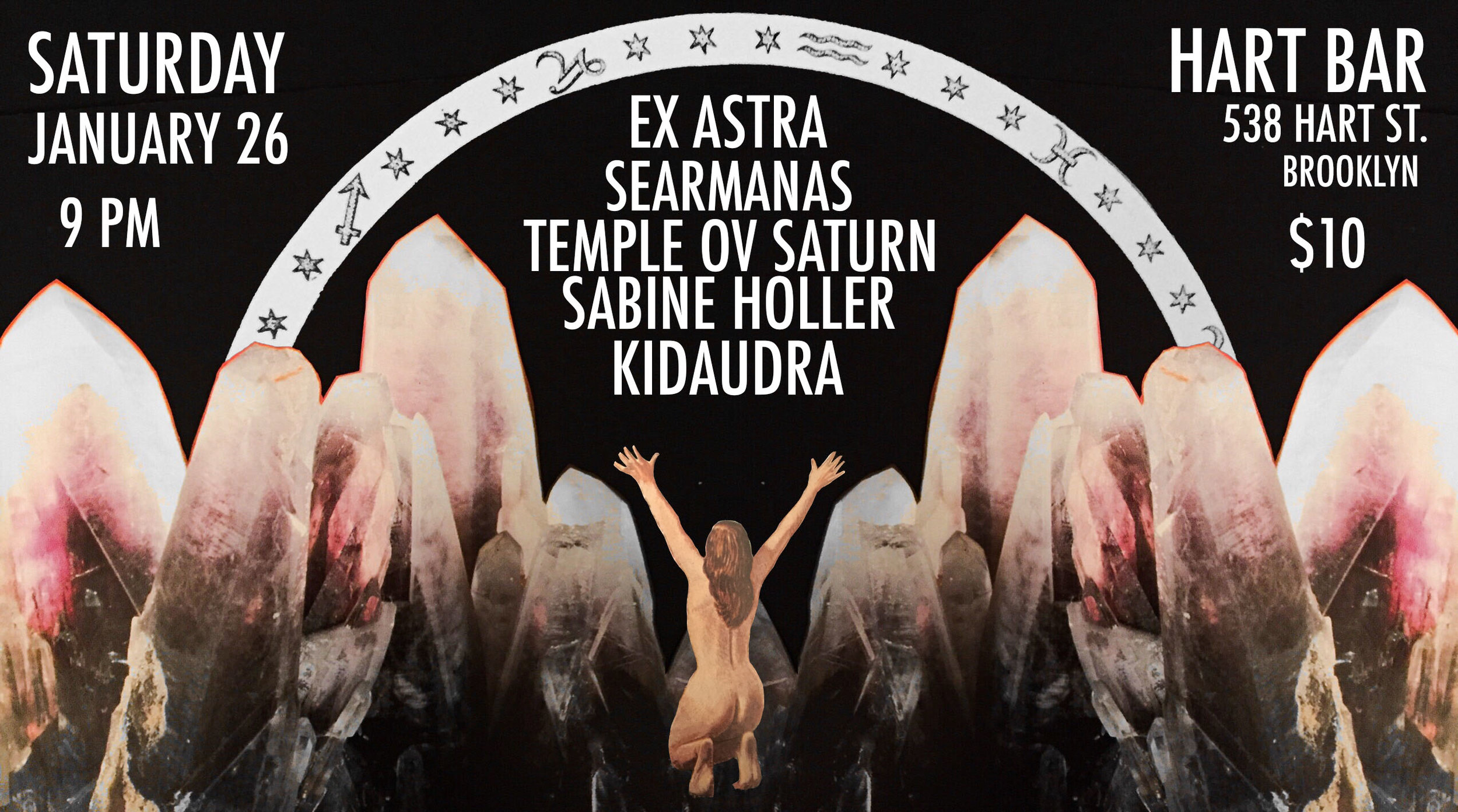 Saturday Jan 26 at Hart Bar in Brooklyn: Ex Astra, Searmanas, Temple ov Saturn, Sabine Holler, Kidaudra