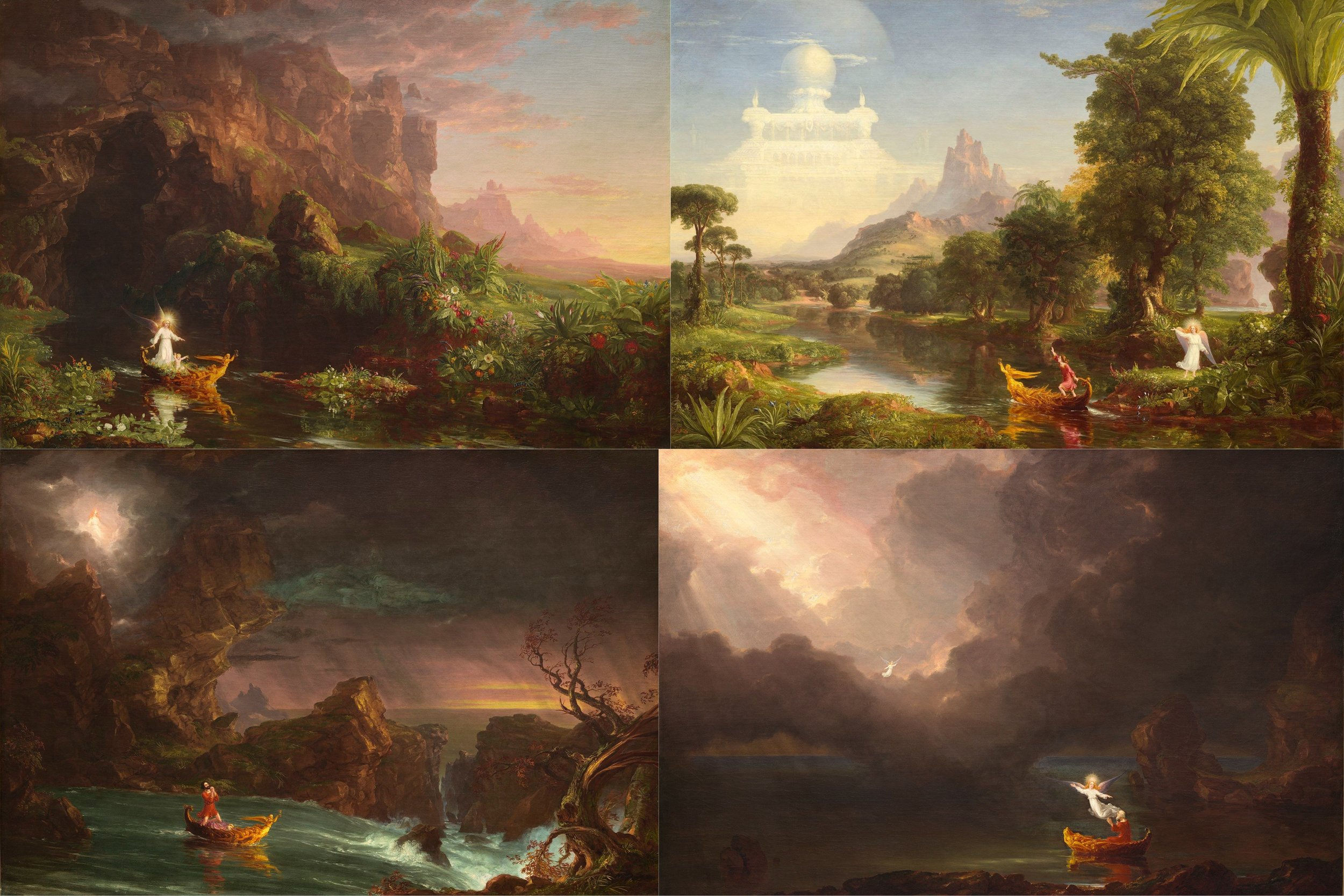 The Voyage of Life series by Thomas Cole, 1842
