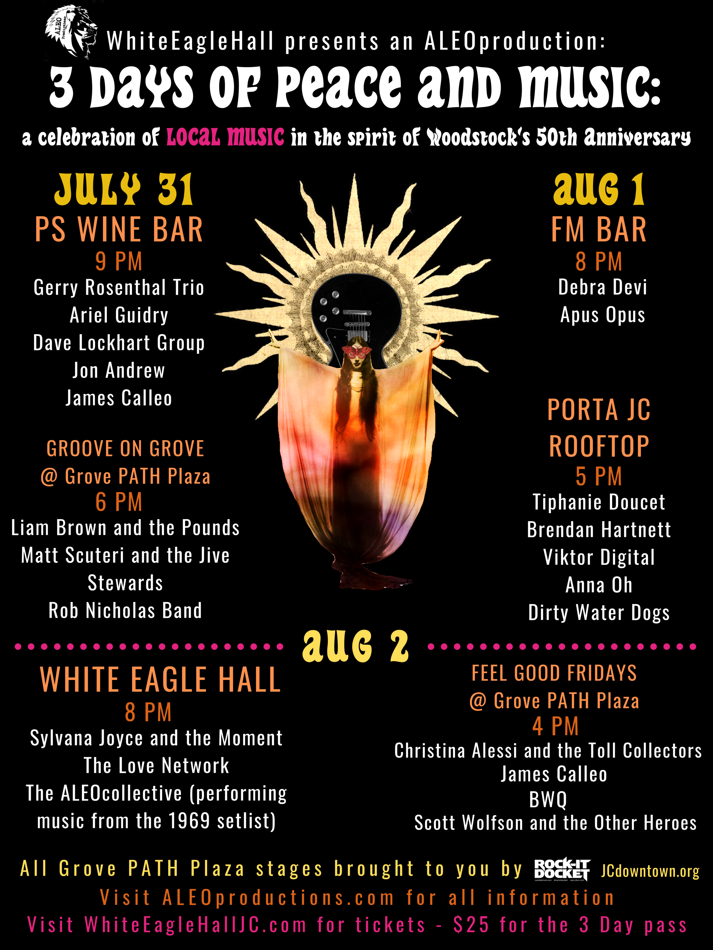 Flyer for 50th Anniversary of Woodstock Festival in Jersey City