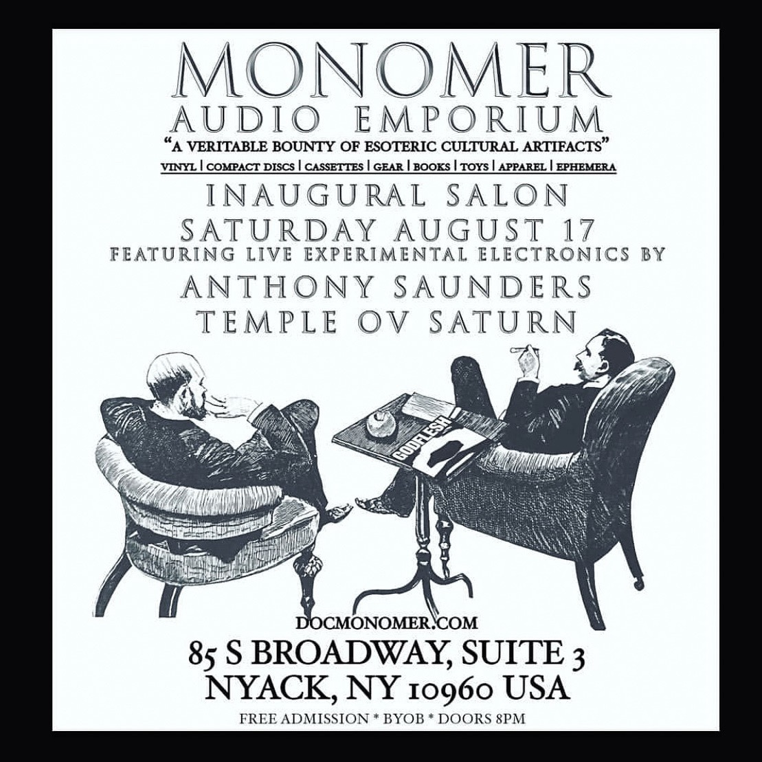 August 17 - Temple ov Saturn to perform at the opening of Monomer Audio Emporium
