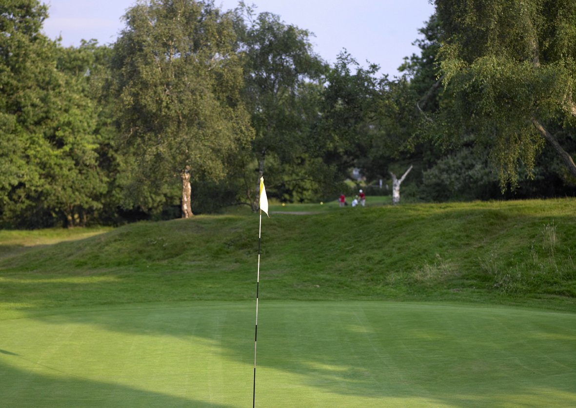 15 | Spinney - Par 3, 172 yards, Stroke index 11A classic length short hole, played to a pin which is barely visible, as the green lies in a hollow behind a bank hidden by trees. The tee shot needs to carry over these to find an undulating green with some very tricky pin positions.