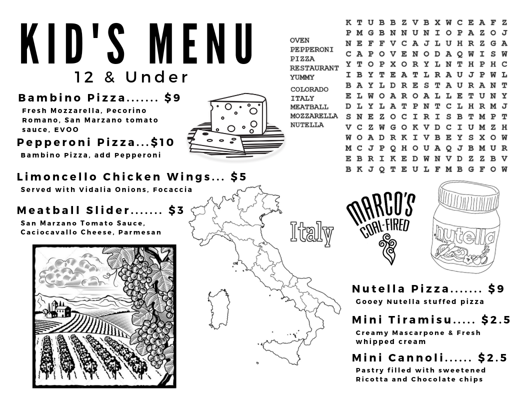 Marco's Coal Fired Kid's Menu