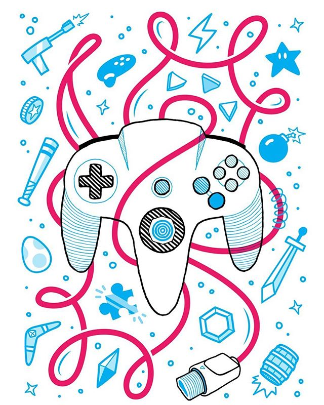 A tribute to that funky controller that shaped my childhood. Hoping to print some posters of it in the very near future! - - - #illustrator #illustration #screenprinting #videogames #gaming #nintendo #nintendo64 #n64 #nostalgia #zelda #supermario #donkeykong #smashbros #starfox #banjokazooie #goldeneye #yoshi #kirby