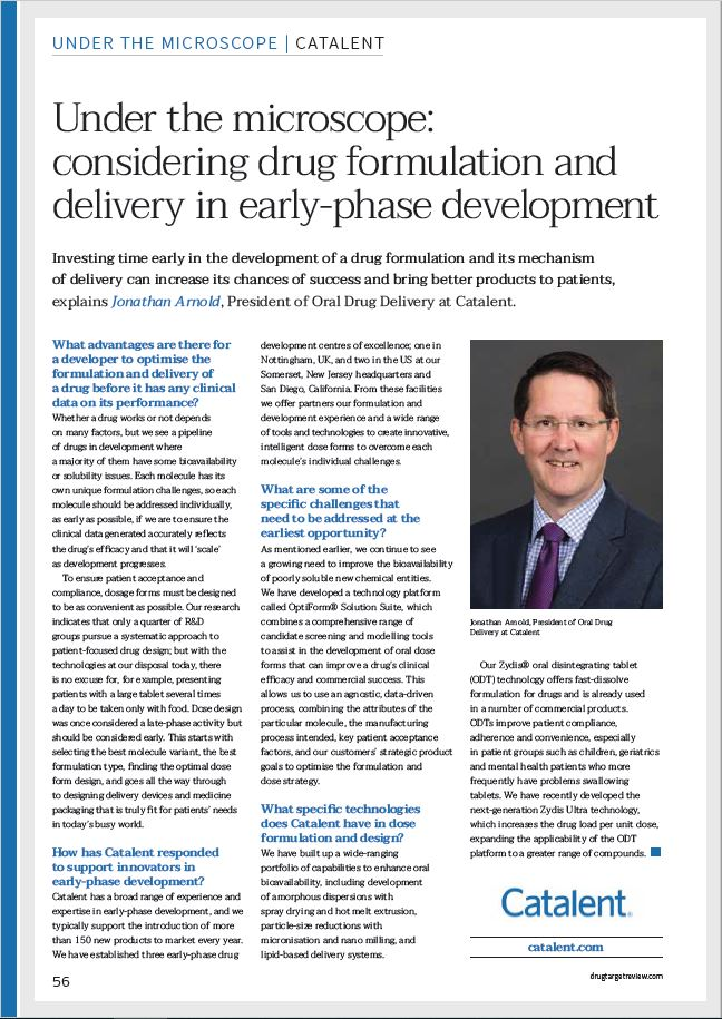 "Catalent ""under the microscope"" feature in Drug Target Review, 2019."