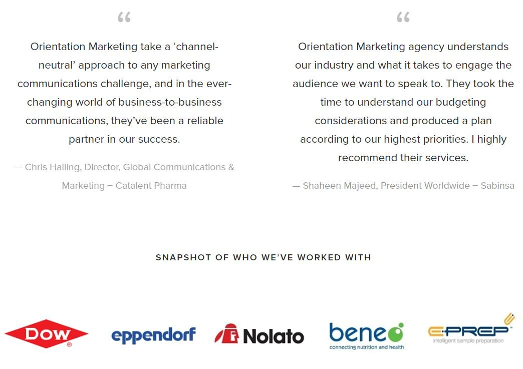 Screenshot from the Orientation Marketing homepage, featuring testimonials and a logo carousel of key clients