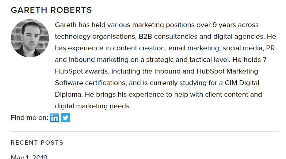 Orientation Marketing have profiles of all staff, accessible from the about page as well as within individual blog posts