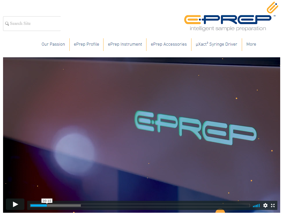EPrep provides  explainer videos  giving the visitor an introduction to their suite of sample preparation instruments.