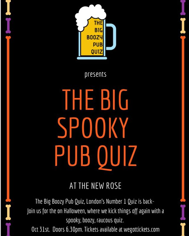 31.10.19 - Get your tickets from @wegottickets #pubquiz #quiz #thebigboozypubquiz #thebigspookypubquiz #halloween