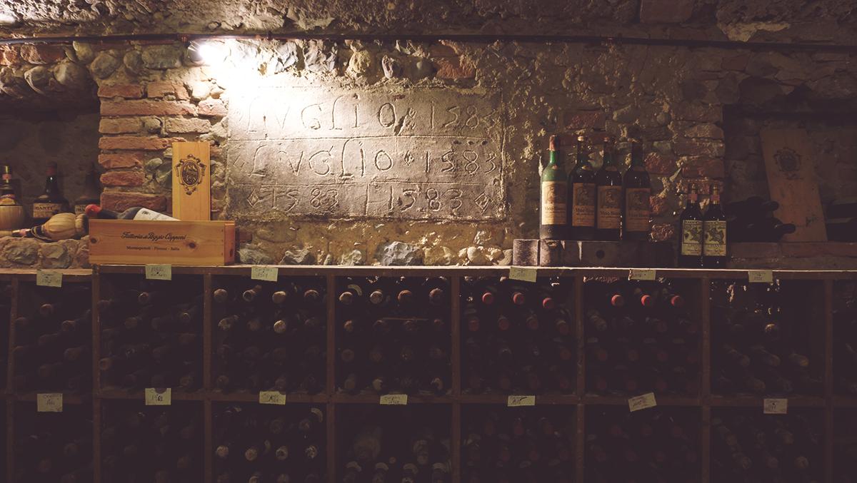 La stanza archivio dei vini