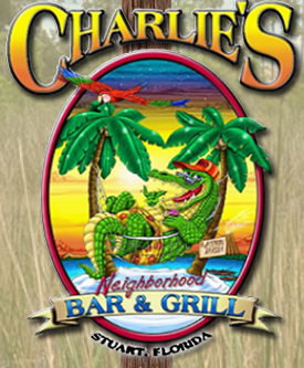 Charlie's Bar & Grill - Charlie's Neighborhood Bar & Grill is Located in Stuart, FL the Sailfish Capital of the World. Open 365 Days a Year from 9 A.M. to 2 A.M. We are a local Bar and Grill that is dedicated to bringing family and friends together for some of the best food, fun, games, and music. Check us out and we guarantee you will be a regular. Some of the best entertainment and food found in the Treasure Coast. We are not a corporate franchise. We are not perfect. We are not always politically correct. We are rarely prim & proper. However, we are locally owned and operated by a Stuart born & raised native family. We do like to have fun. We do usually get a long with everyone from everywhere. We do expect everyone to feel like family around here, whether you like 'em or not.