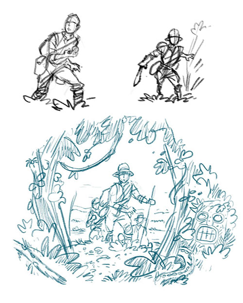The Lost Expedition card art early sketch work