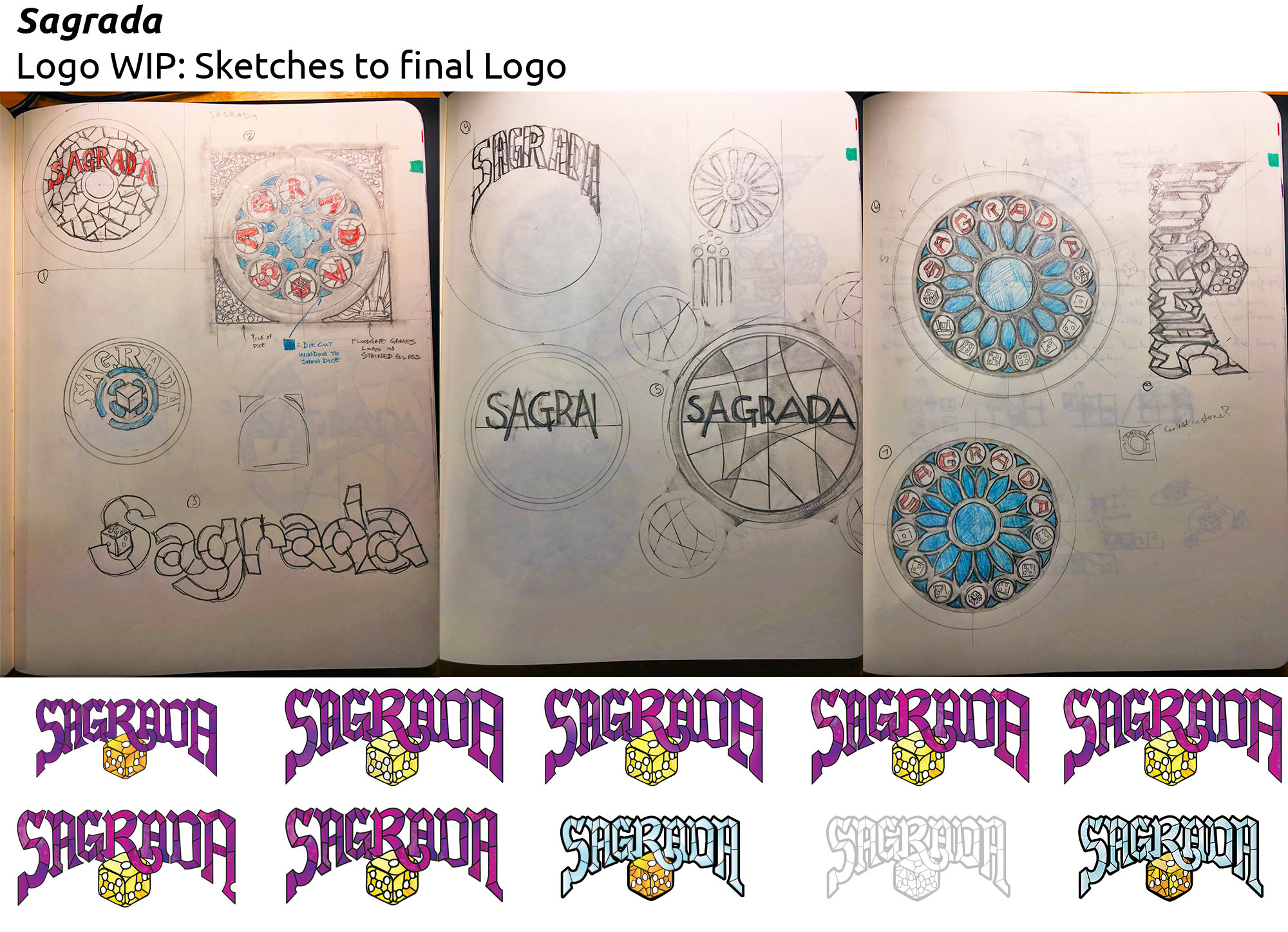 Sagrada - Prototype logo design illustrations and sketches