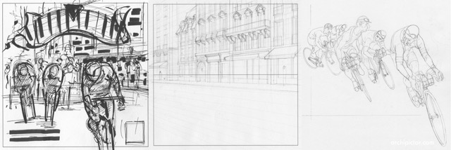 Flamme Rouge - early illustration and sketch work