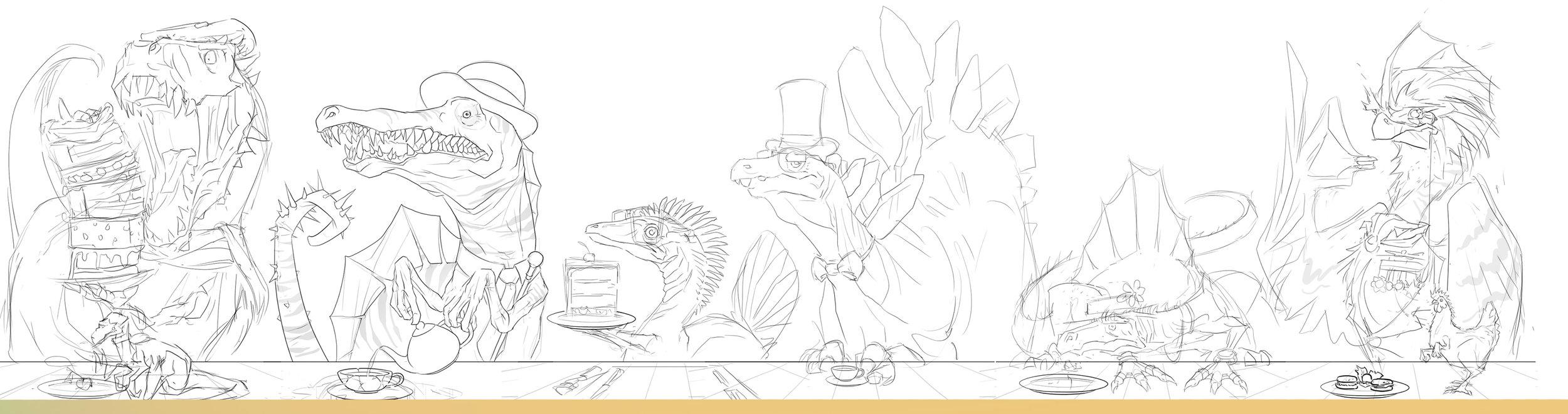 Sketch art for Dino Tea Party