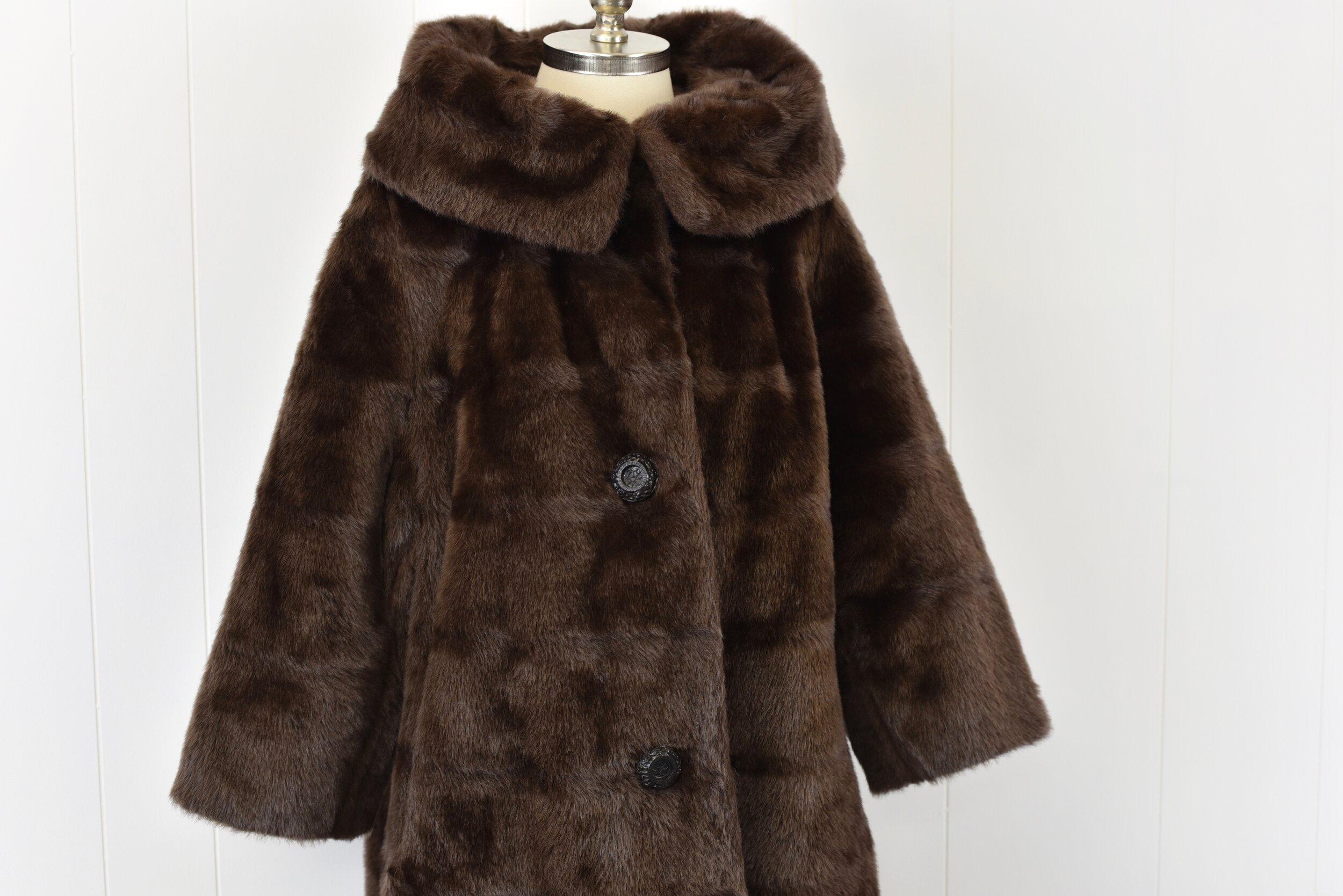 1960/'s Brown Faux Fur Teddy Bear Coat