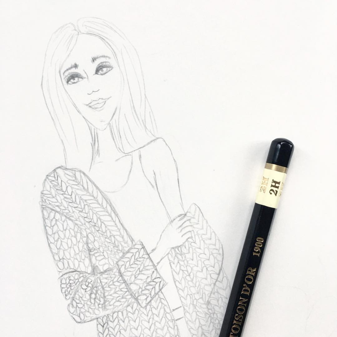 Sneak peek at what's on my desk today. The cold and wet weather has me reaching for chunky knits, hot tea and a good book.  .  .  .  .  #sketchbook #sketchaday #fashionillustration #flashesofdelight #denimandinkdesign #style