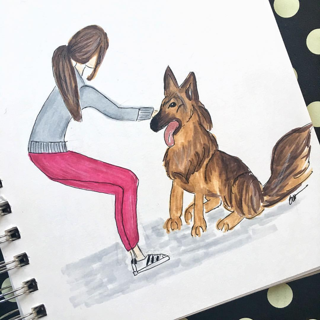 As close as I'll get to a self portrait with my little man #rhaegarthennadil (although he's not so little for only 11 months old)  .  .  .  .  #denimandinkdesign #copicmarkers #illustration #fashionillustration #flashesofdelight #sketch #germanshepard