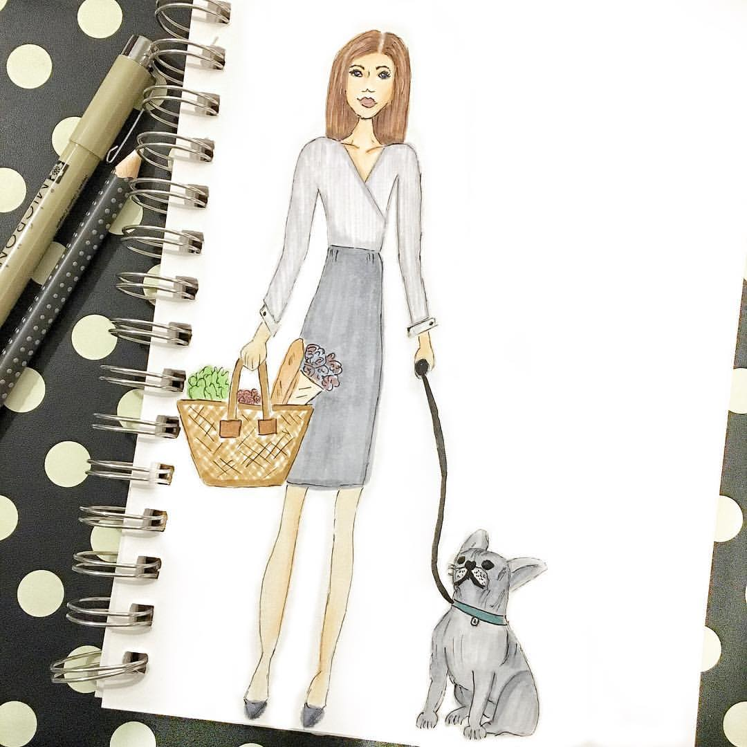 A girl and her dog. Best friends.  .  .  .  .  #denimandinkdesign #copicmarkers #sketch #illustration #bulldog #flashesofdelight #fashionillustration