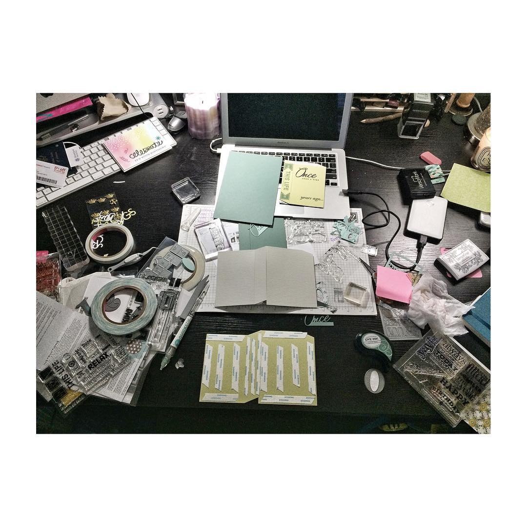 My workspace gets out of control when I'm working on a project. #diy #papercrafts #denimandinkcards