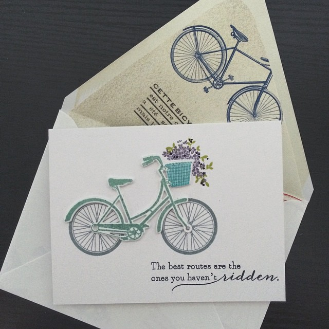 Our final send off to our retiring  admin was a sweet bike basket of goodies- bike bell, streamers, spoke lights, you get the idea.  She's taking a bike tour across the country next spring and we wanted her to be the most stylish! She's so adventurous and we will miss her #17daysofbarb #diy #papercrafts #papertreyink #cards