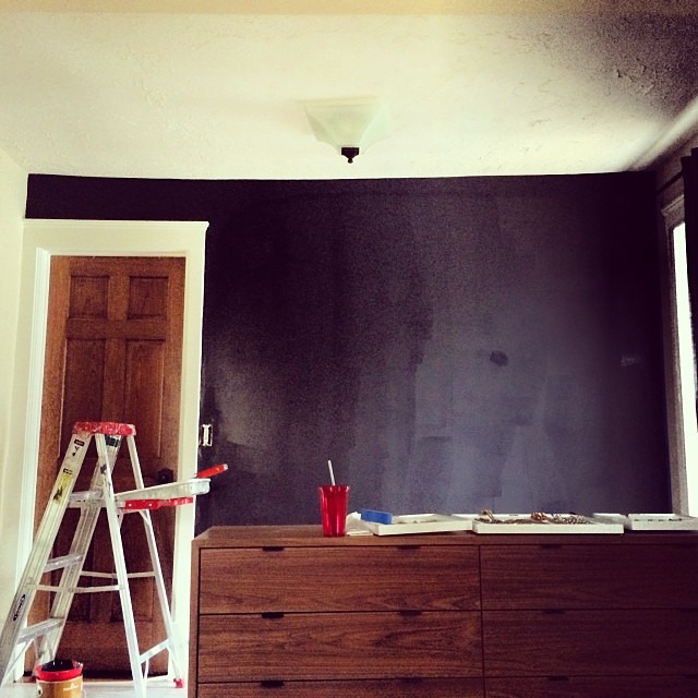 Work in progress. Accent wall in bedroom- debating whole room (it's a sitting area  within the whole bedroom) thoughts? #diy #benjaminmoore