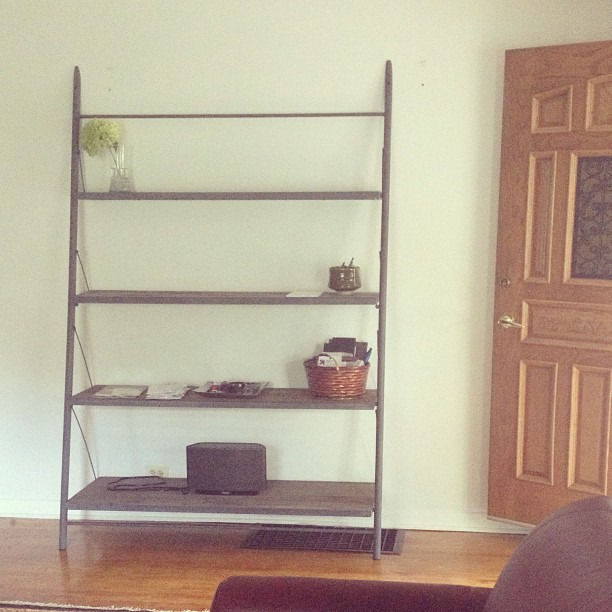 Afternoon light on our new entry way shelving from @restorhardware - now I just need to fill it