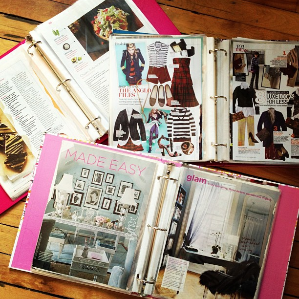 Anyone else this anal about their magazine tears? Even with Pinterest, I still love perusing my tears over the years.  All categorized- of course! Food, fashion, home.