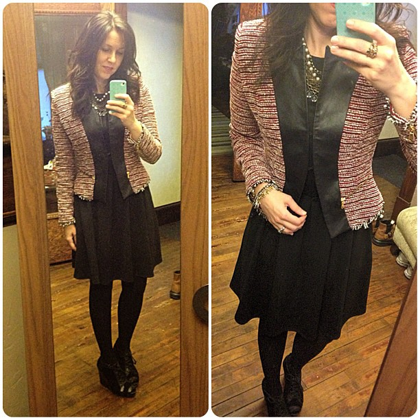 {dress} boucle + leather