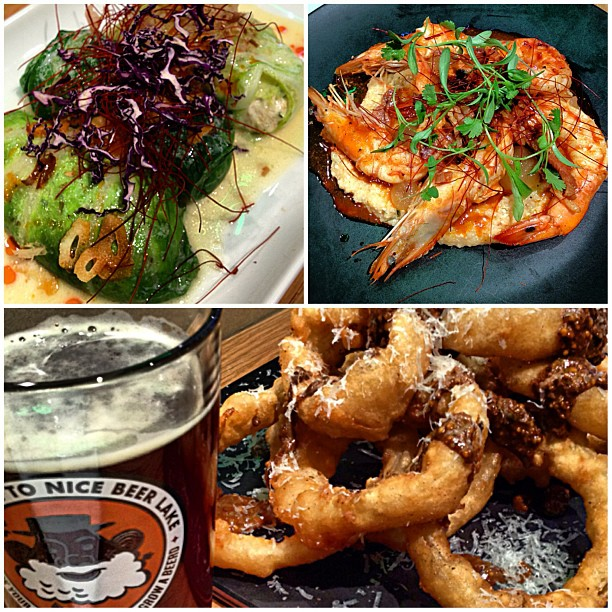 Dinner @Parkampls - crab & shrimp cabbage rolls, shrimp & grits and finally onion rings with coffee mustard. Delish!
