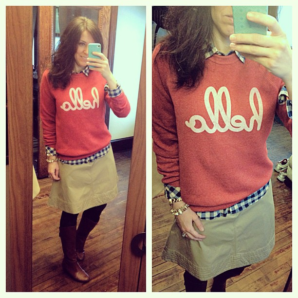 {dress} may be pushing the dress code, but i was so excited to wear my new @helloapparel sweatshirt on store visits today! #redkhaki #targetstyle