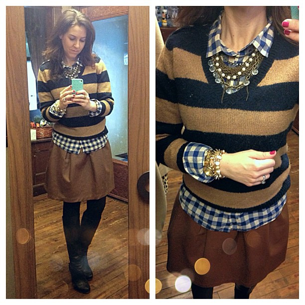 {dress} cognac #oord #wiw #personalstyle #selfie #jcrew #jcrewaddict #stripes #gingham #layers