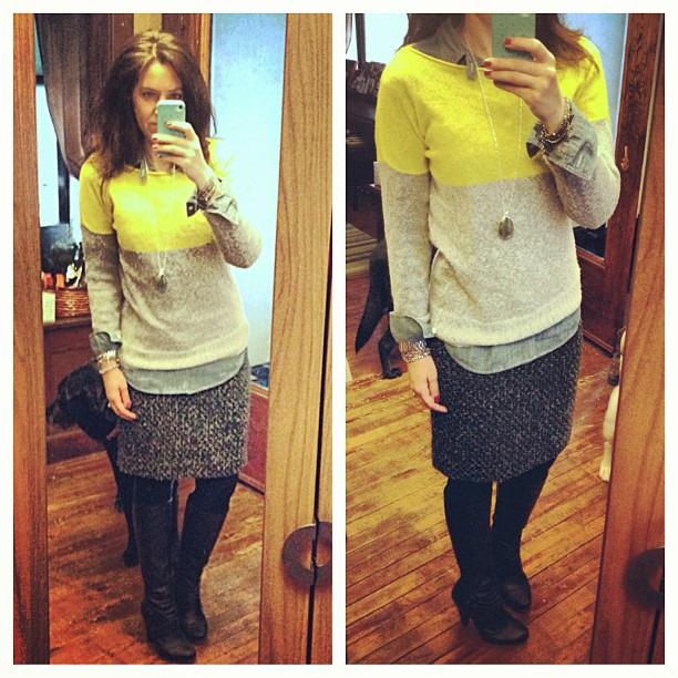 {dress} tweedtastic #ootd #wiw #personalstyle #jcrew #jcrewaddict #stelladotstyle #pencilskirt #chambray