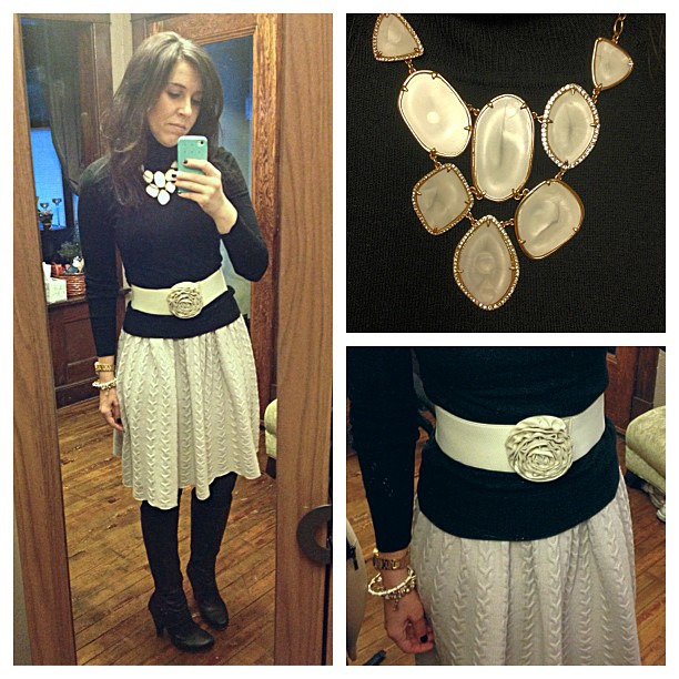 {dress} black + cream #ootd #wiw #personalstyle #selfie #layers #sweaterweather #anthropologie #sweaterdress #stelladotstyle