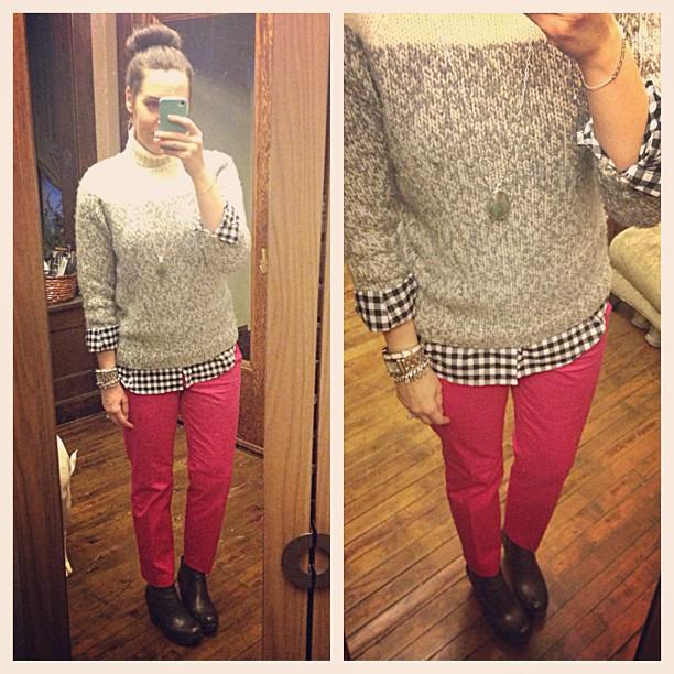 {dress} hot pink #ootd #wiw #personalstyle #jcrew #sweater #cafecapri #stelladotstyle #korkease #booties #gingham #sockbun