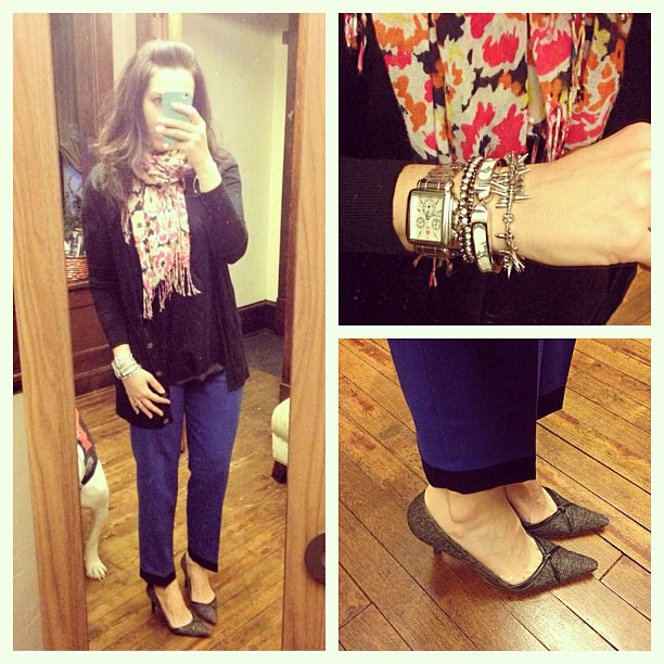 {dress} color blocked #ootd #wiw #personalstyle #jcrew #pants #sweater #targetstyle #scarf #floral #stelladotstyle