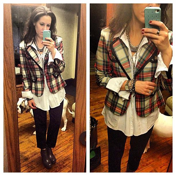 {dress} school daze #ootd #wiw #personalstyle #plaid #jacket #jcrew #korkease #stelladotstyle #targetstyle #bowiefortarget