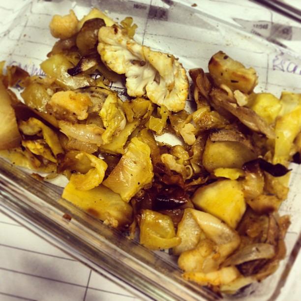 {dine} roasted veggie goodness #cabbage #cauliflower #sweetpotato #onion #vegan #glutenfree #healthy #bjsfitandfabulous #paleo