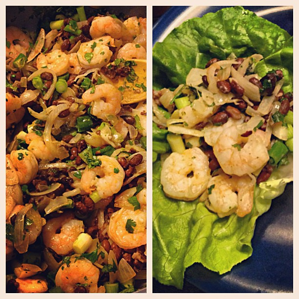 {dine} whipped up some shrimp & black bean lettuce wraps #delish #healthy #glutenfree #quickandeasy #bjsfitandfabulous